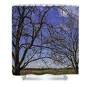 Blue Sky December Shower Curtain