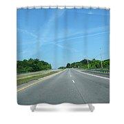 Blue Sky Empty Road Shower Curtain