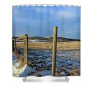 Blue Sky Fence Line Shower Curtain