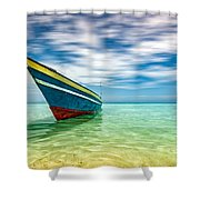 Blue Sky, Green Water And Iconic Boat Shower Curtain