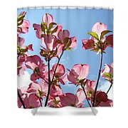 Blue Sky Landscape White Clouds Art Prints Pink Dogwood Flowers Baslee Troutman Shower Curtain