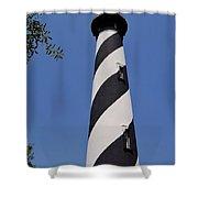 Blue - Sky - Lighthouse Shower Curtain