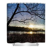 Blue Sky Sunrise On The Marsh Shower Curtain