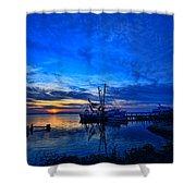 Blue Sky Sunset Shower Curtain