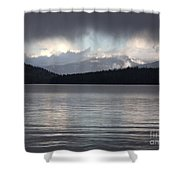 Blue Sky Through Dark Clouds Shower Curtain
