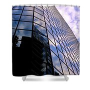 Blue Skyscrapper With A Blue Sky In New Orleans Louisiana Shower Curtain