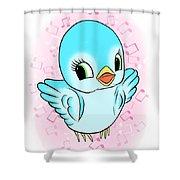 Blue Song Bird Shower Curtain