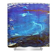 Blue Space Water Shower Curtain