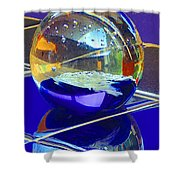Blue Sphere Shower Curtain