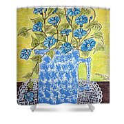 Blue Spongeware Pitcher Morning Glories Shower Curtain