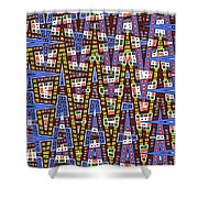 Blue Squares With Dots Shower Curtain