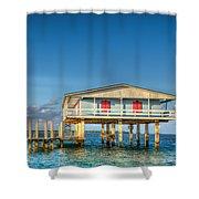 Blue Stiltsville House Shower Curtain