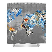 Blue Street Art World Map Shower Curtain