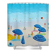 Blue Striped Umbrellas Shower Curtain