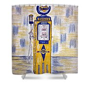 Blue Sunoco Gas Pump Shower Curtain