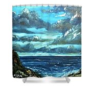 Blue Sunset Oil Beach Painting Shower Curtain