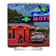 Blue Swallow Motel Shower Curtain