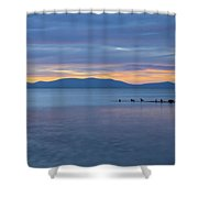 Blue Tahoe Sunset Shower Curtain