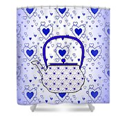 Blue Teapot - Kitchen Shower Curtain