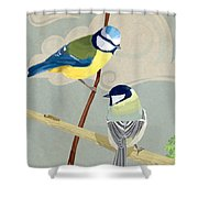 Blue Tit And Great Tit Shower Curtain