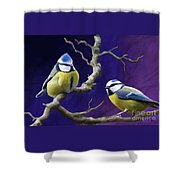 Blue Titmouse Shower Curtain