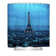 Blue Tower Shower Curtain