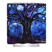 Blue Tree At Night Shower Curtain