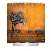 Blue Trees And Dreams Shower Curtain