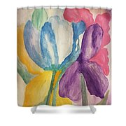 Blue Tulip And Iris Abstract Shower Curtain