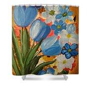 Blue Tulip Trio Shower Curtain