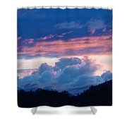 Blue Twilight Clouds Art Prints Mountain Pink Sunset Baslee Troutman Shower Curtain