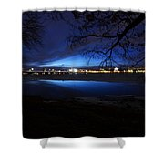 Blue Twilight Over The Charles River Shower Curtain
