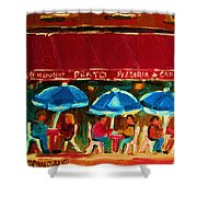 Blue Umbrellas Shower Curtain