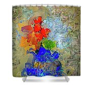 Blue Vase, Red Flowers Shower Curtain