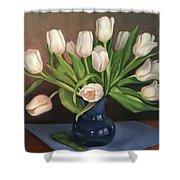 Blue Vase, White Tulips Shower Curtain