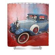 Blue Vintage Car Shower Curtain