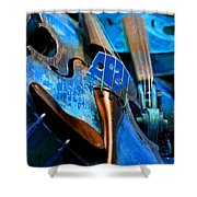 Blue Violin Shower Curtain