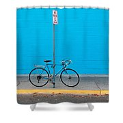 Blue Wall Bicycle Shower Curtain