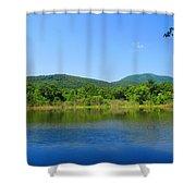 Blue Wall Lake Shower Curtain
