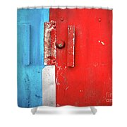 Blue Wall Red Door Shower Curtain