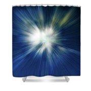 Blue Warp Shower Curtain