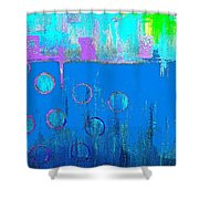 Blue Water And Sky Abstract Shower Curtain