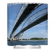 Blue Water Bridge Shower Curtain