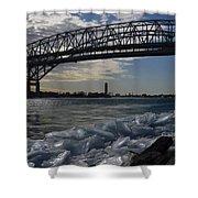 Blue Water Bridge In Winter Shower Curtain
