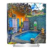 Blue Water Courtyard Shower Curtain