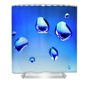 Blue Water Droplets On Glass Shower Curtain