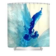 Blue Water Flower Shower Curtain by KR Moehr