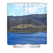 Blue Water Green Islands Shower Curtain