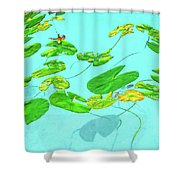 Blue Water Lilies Shower Curtain