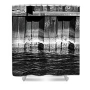Blue Water Retaining Wall 4 Bw Shower Curtain